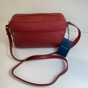 Cole Haan Red Dahlia Pebbled Leather Crossbody Bag